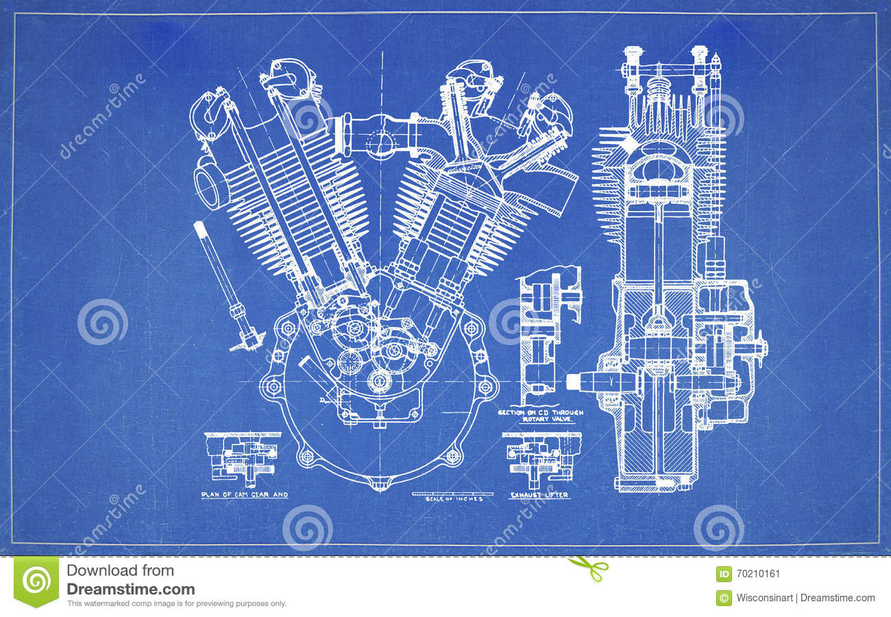 Blueprint drawing two stroke engine stock image image of blueprint drawing two stroke engine malvernweather Gallery
