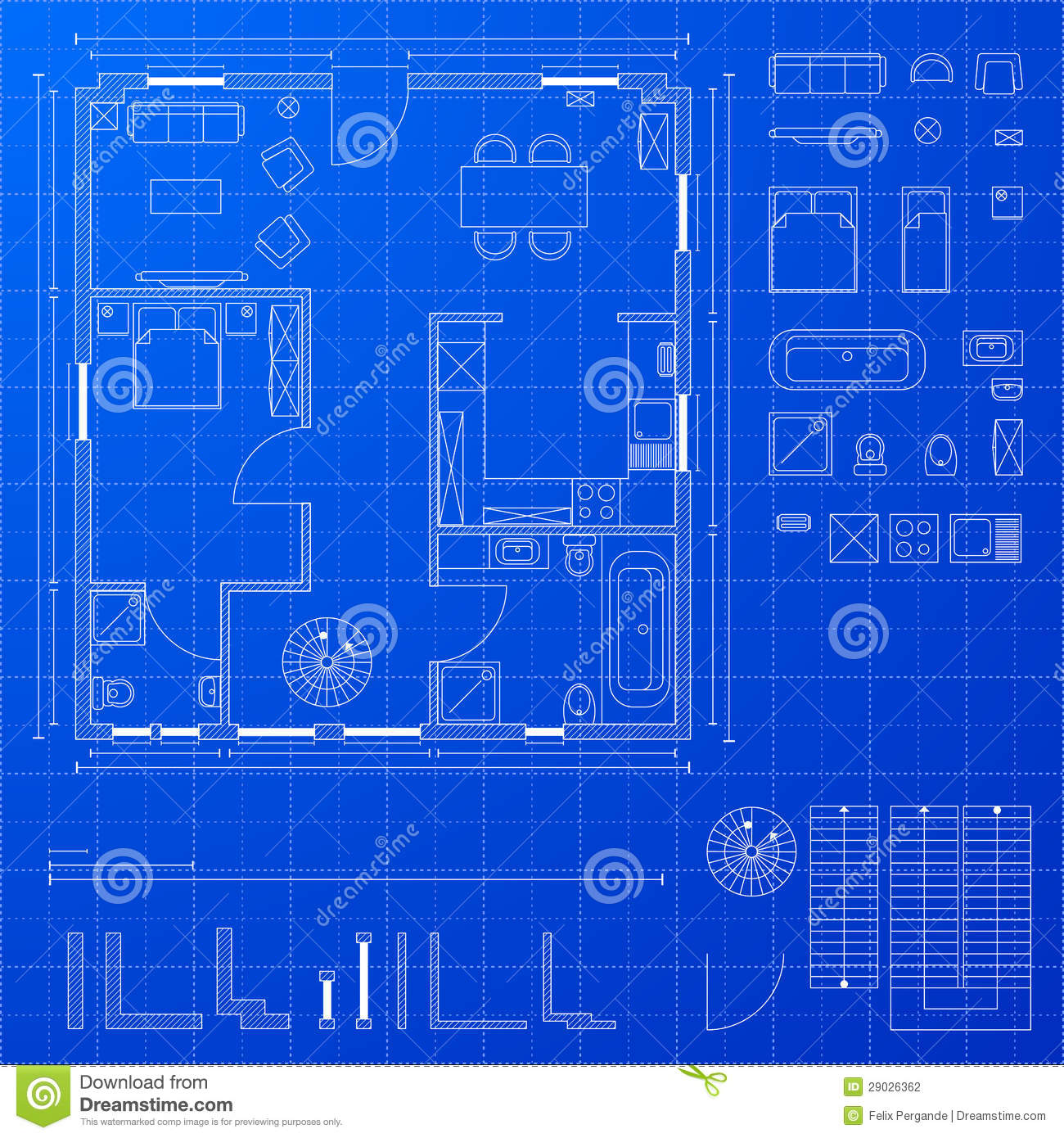 Blueprint elements stock vector illustration of drafting 29026362 blueprint elements malvernweather Image collections