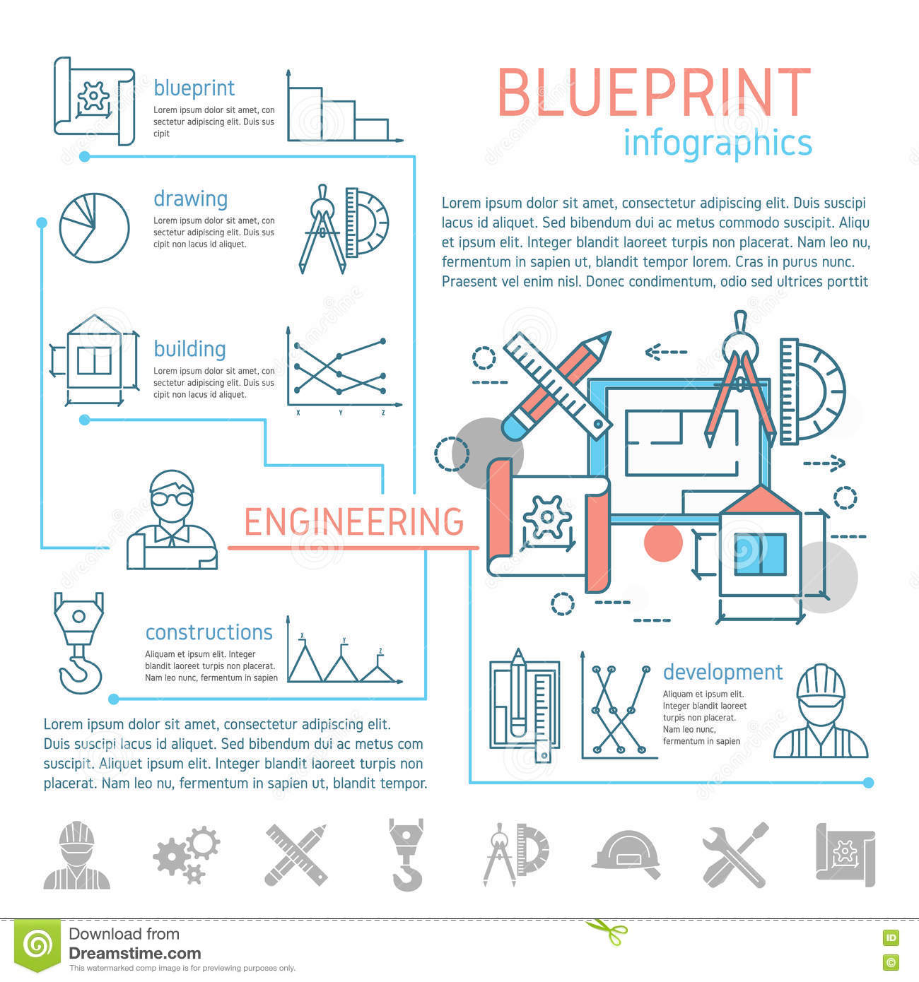 Blueprint And Engineering Linear Infographics Stock Vector Diagrams