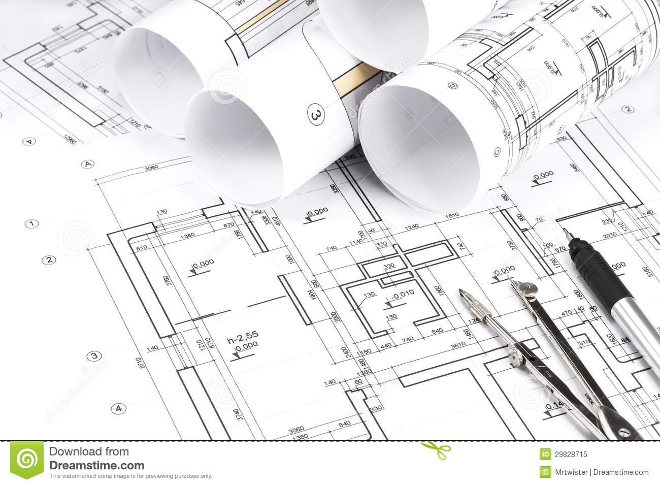 Rolled building plans stock image image of number detail for Floor plan drawing tool