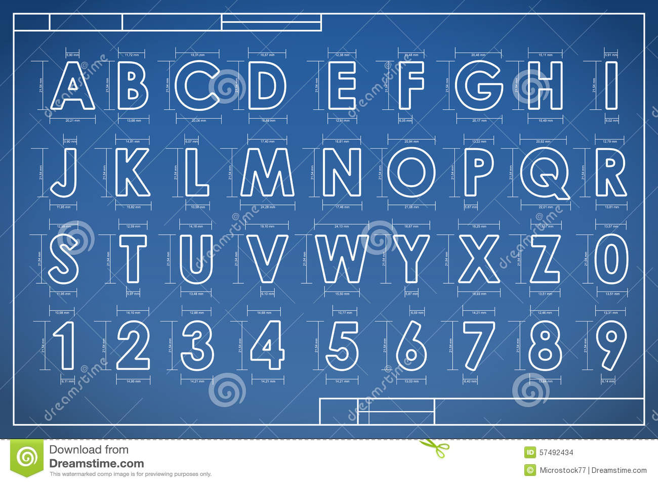 Blueprint font alphabet stock vector illustration of graphic royalty free vector download malvernweather Gallery