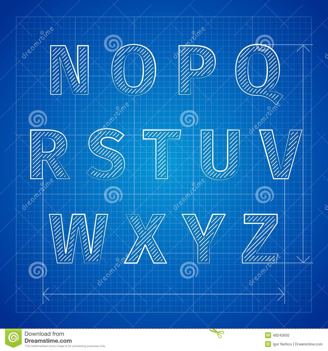 blueprint font stock vector