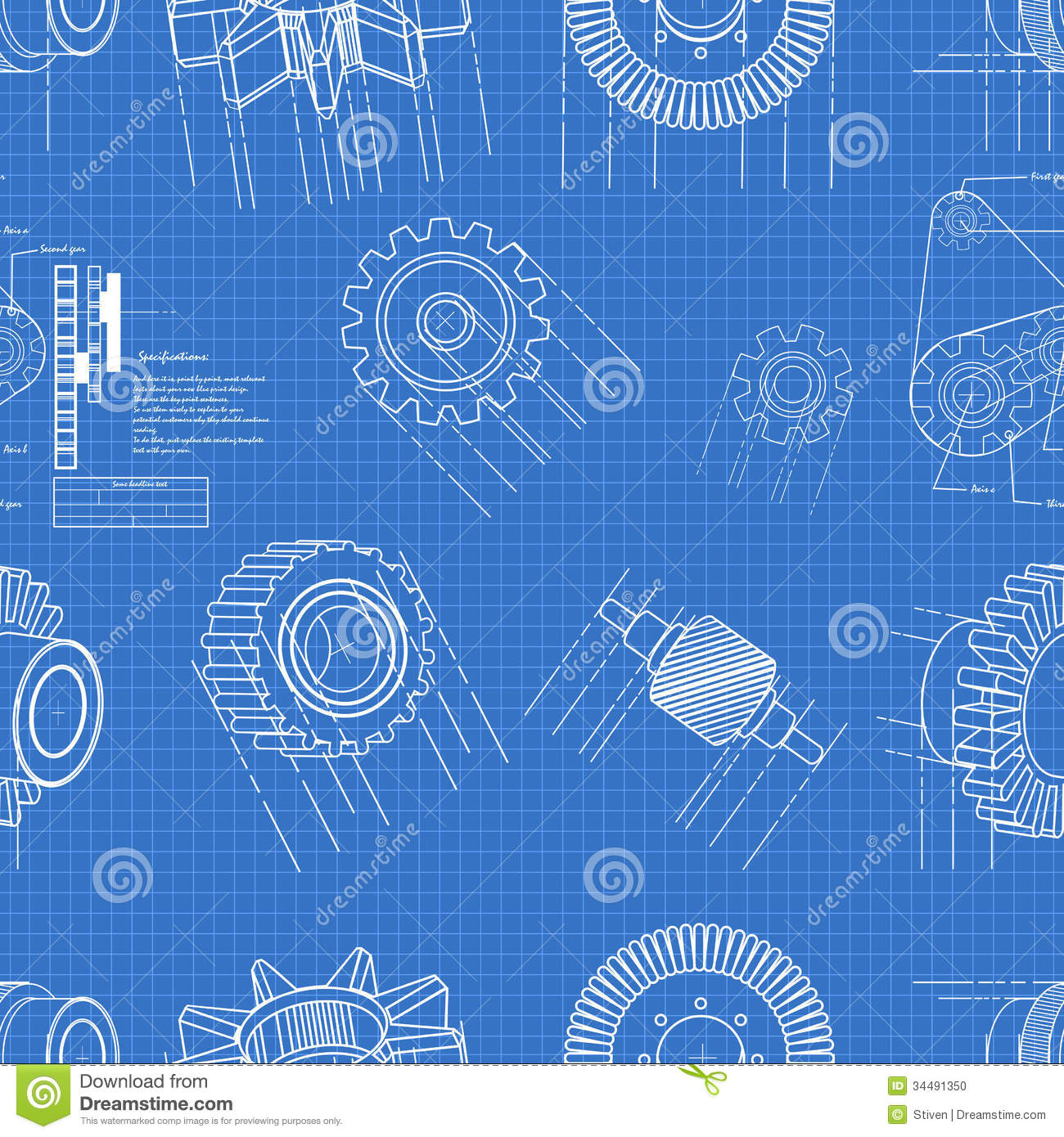 Blueprint gears seamless stock vector illustration of clock 34491350 royalty free stock photo malvernweather Images