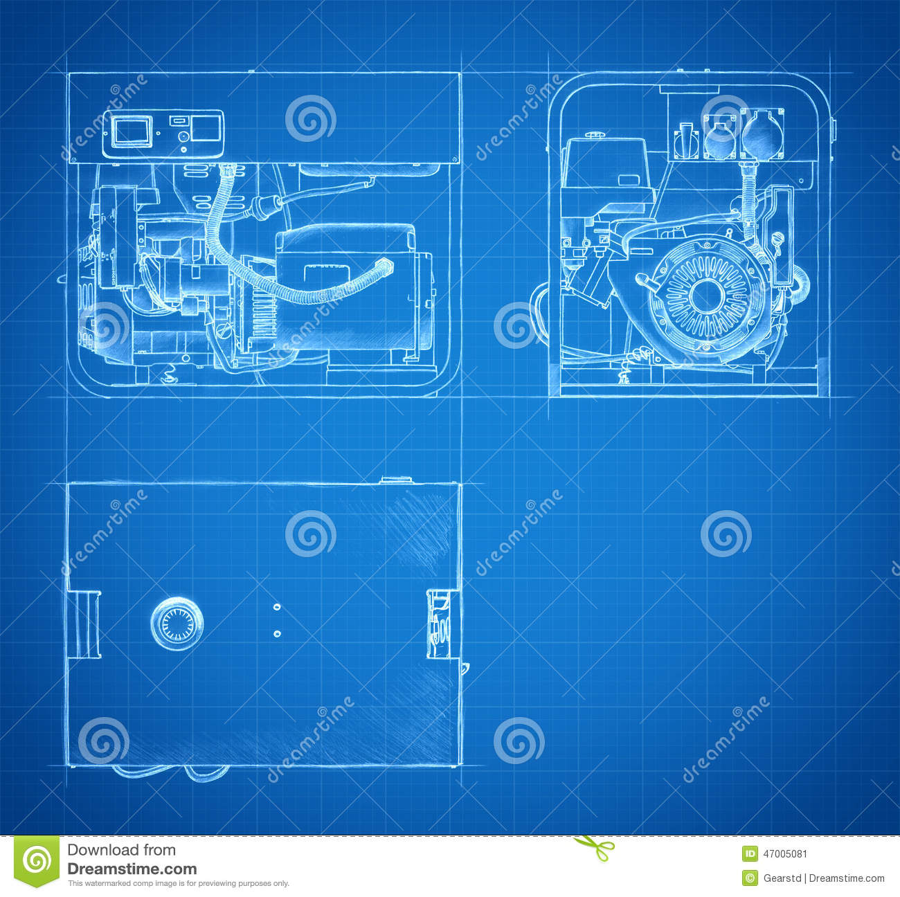 Blueprint of generator drawings and sketches stock illustration blueprint of generator drawings and sketches malvernweather Image collections