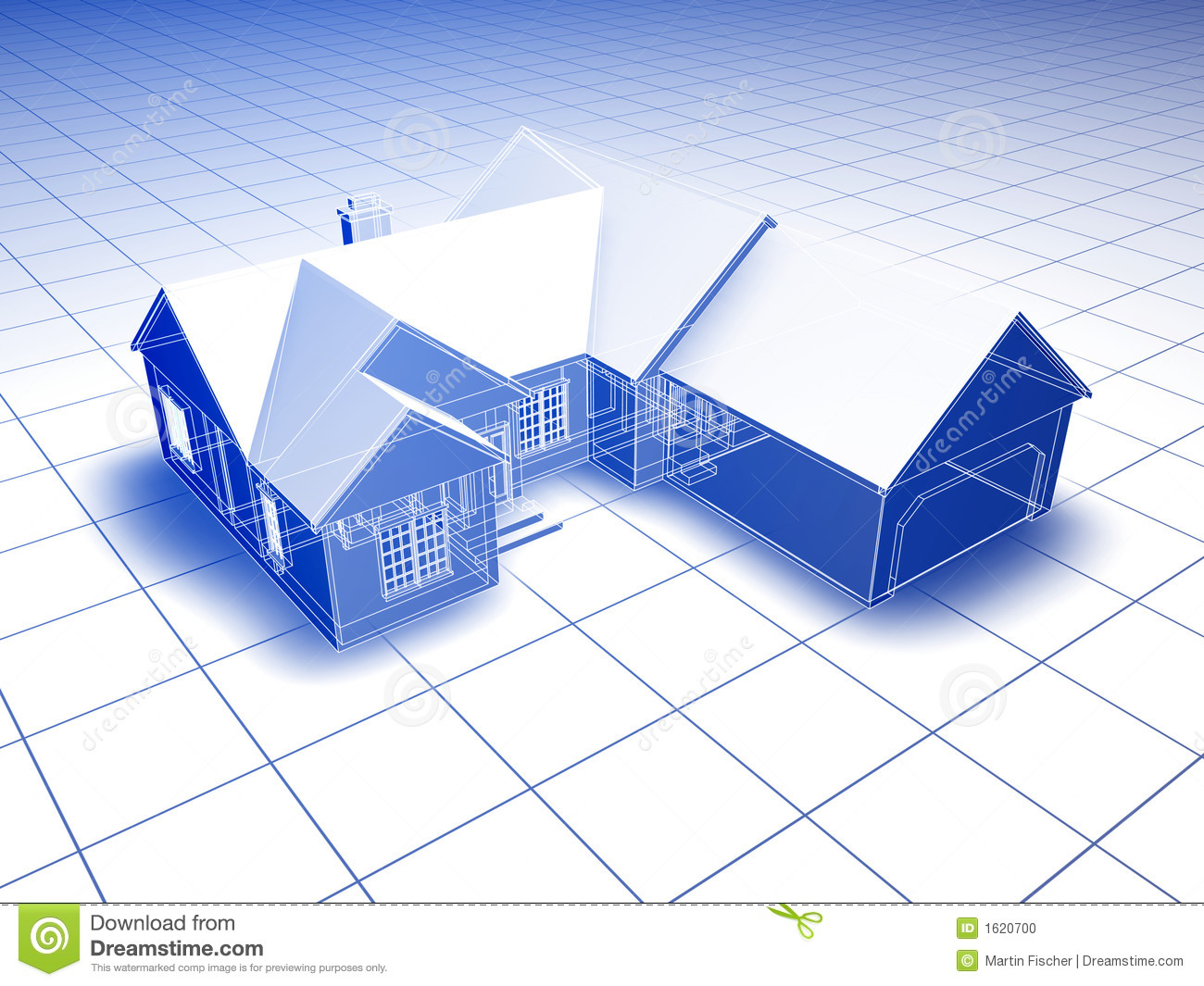 Blueprint style 3D rendered house. blue on white background.