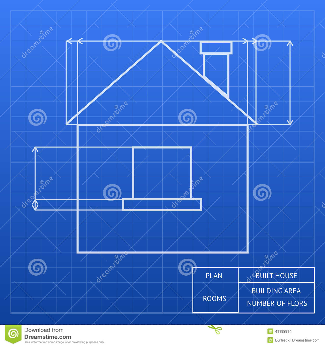 Blueprint of a house design stock vector image 41198914 for Blueprint of a house with measurements