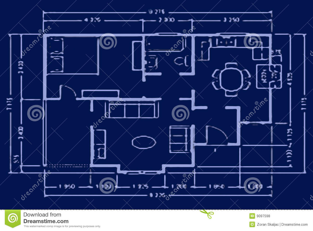 Blueprint, House Plan, Architectural Background