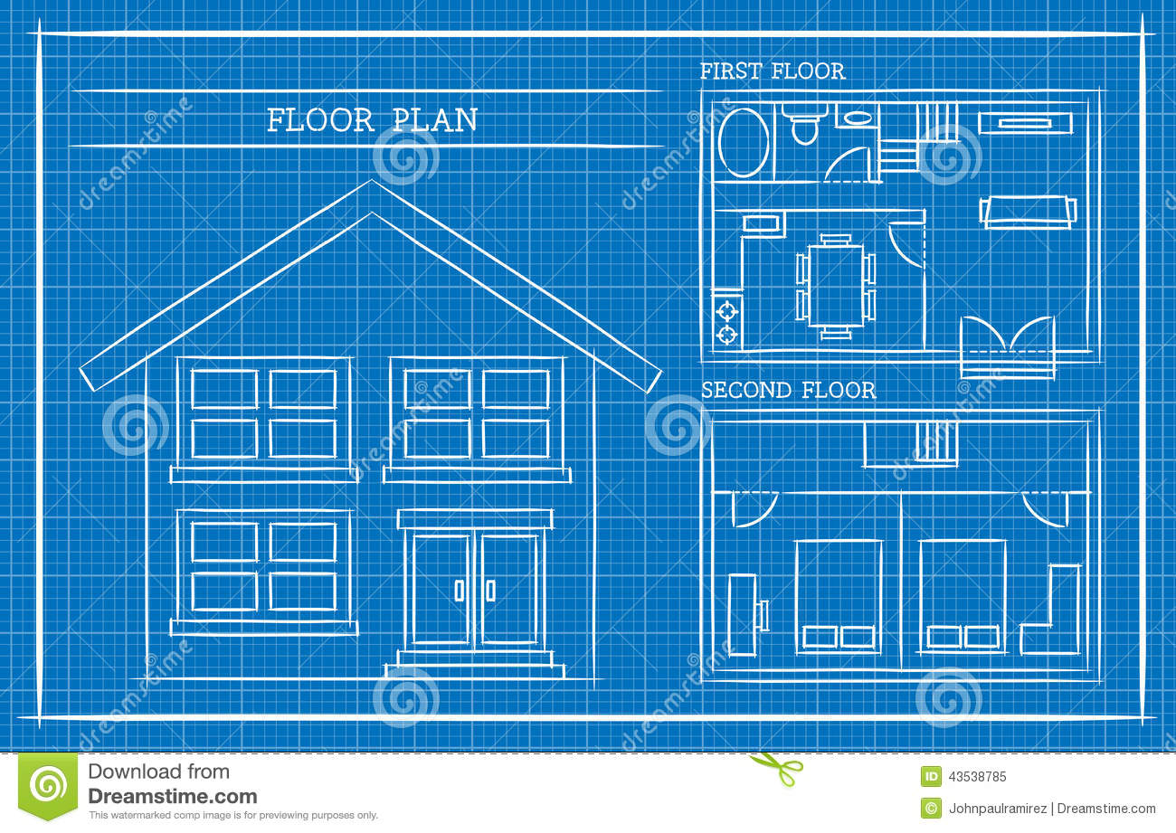 Vector Illustration of a house design plan in blueprint. Best for