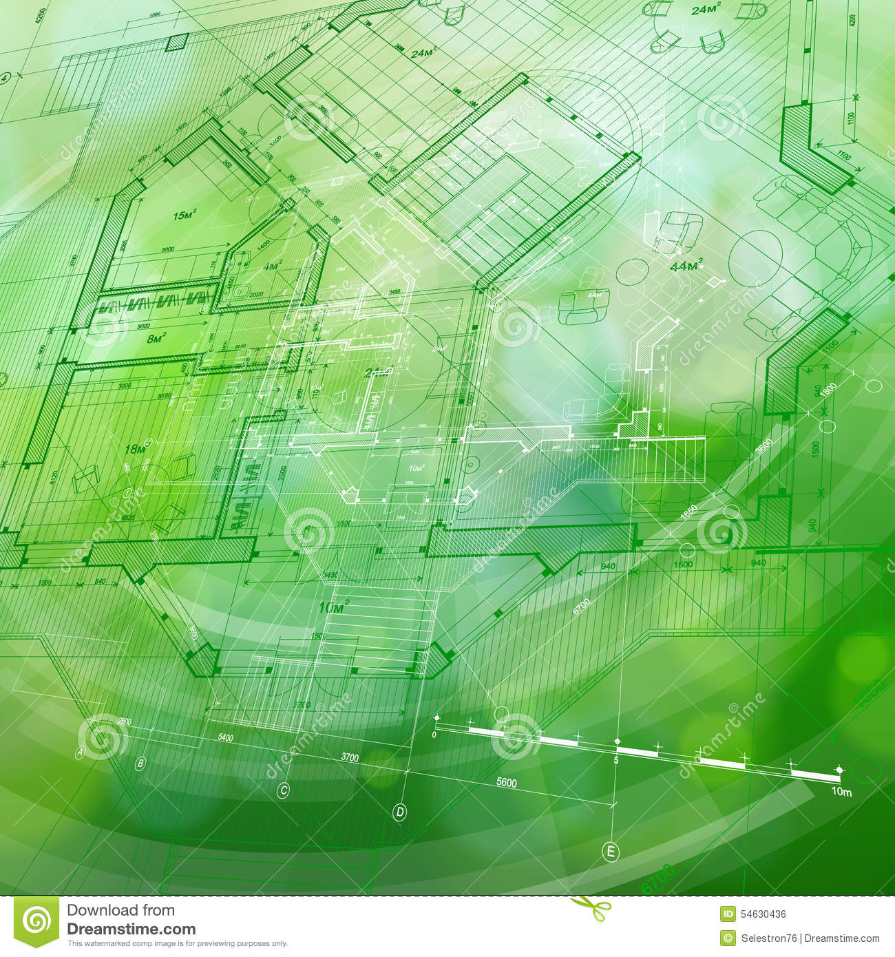 Blueprint house plan green technology radial background for Architecture blueprint