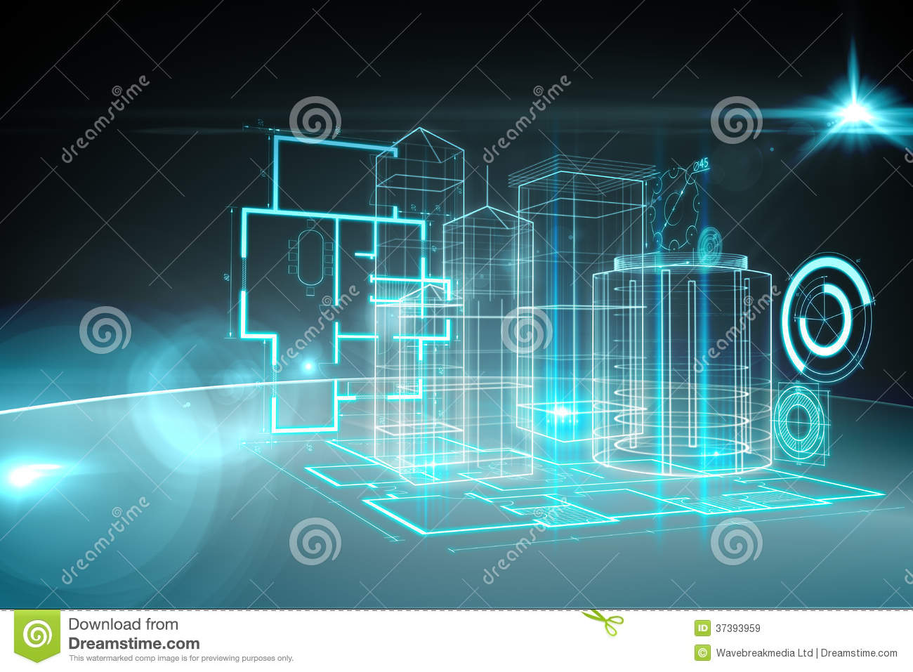 Blueprint interface stock illustration illustration of computer blueprint interface malvernweather Images