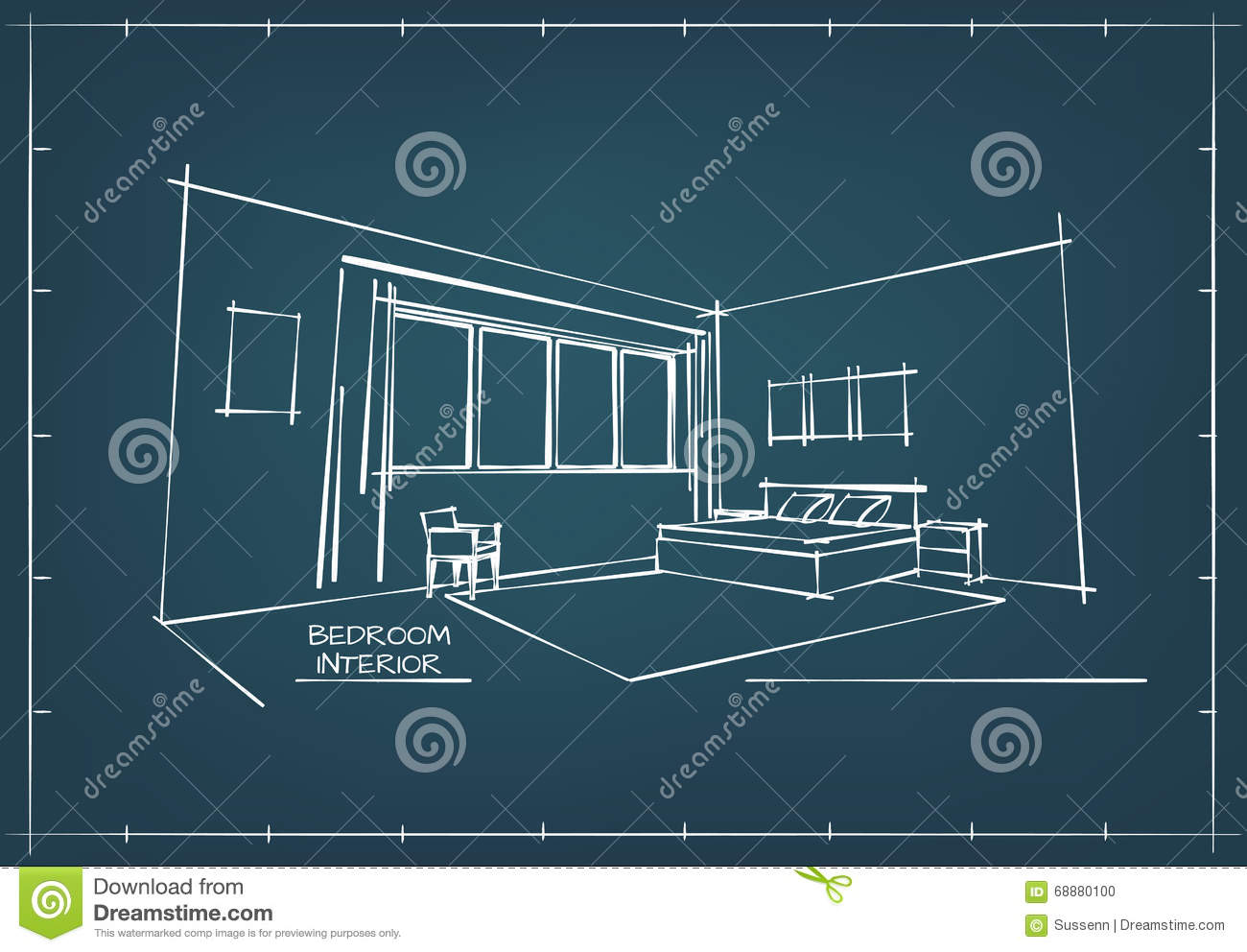 Bedroom drawing with color - Blueprint Interior Drawing Stock Photo