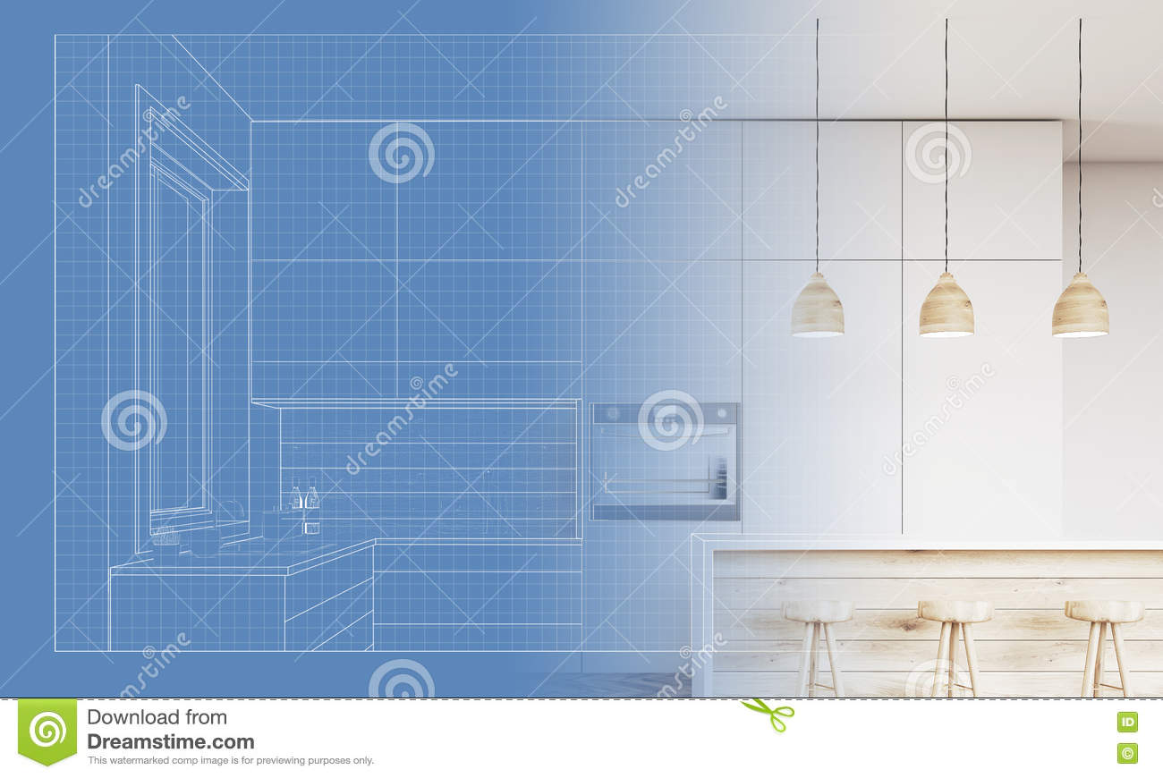 Blueprint Of A Kitchen And Its Implementation Stock Illustration ...