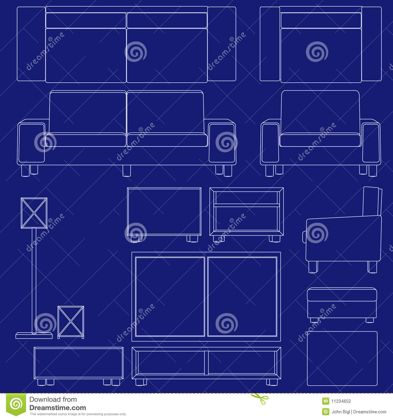 Blueprint Living Room Furniture Stock Vector Illustration Of Couch