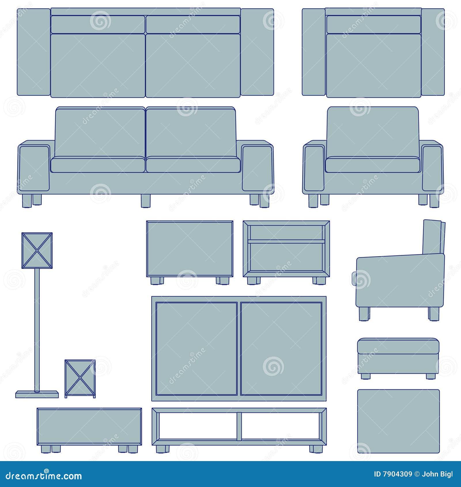 Blueprint living room furniture illustration 7904309 megapixl malvernweather Choice Image