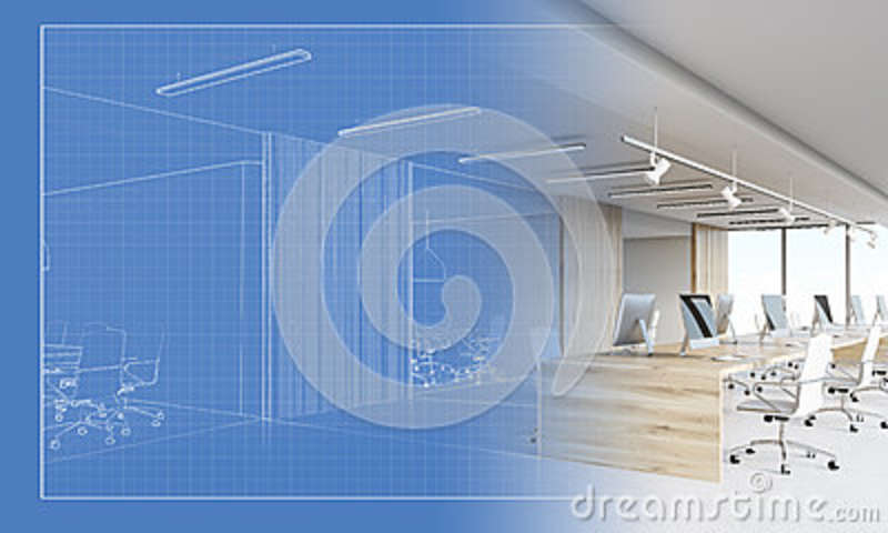 Blueprint Of An Office Becoming An Actual Workplace Stock