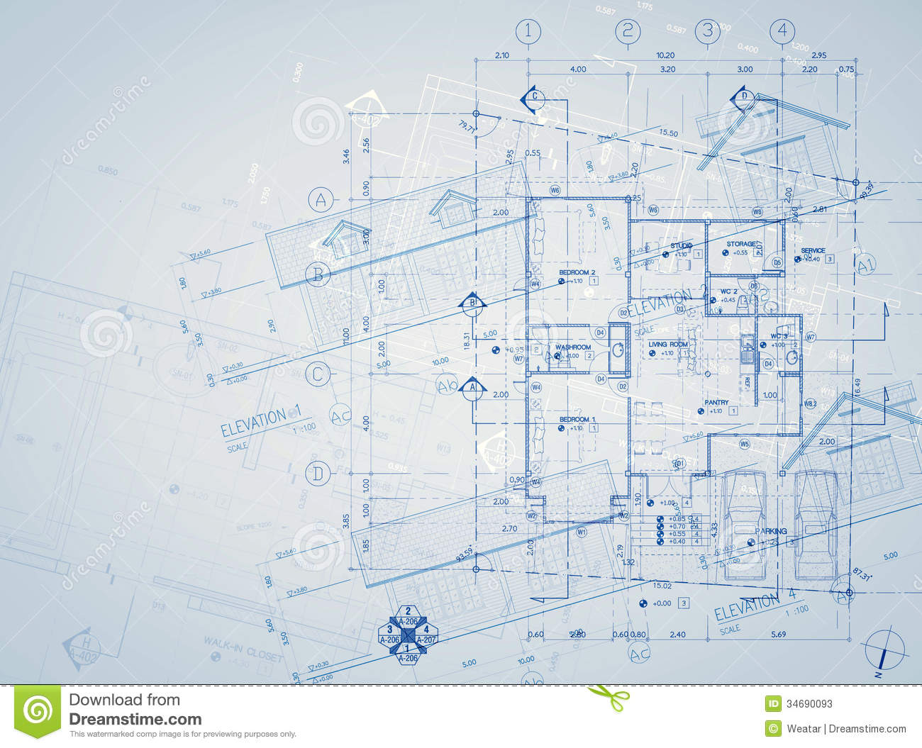 Elevation Plan Blueprint : Blueprint overlay stock image of ideas