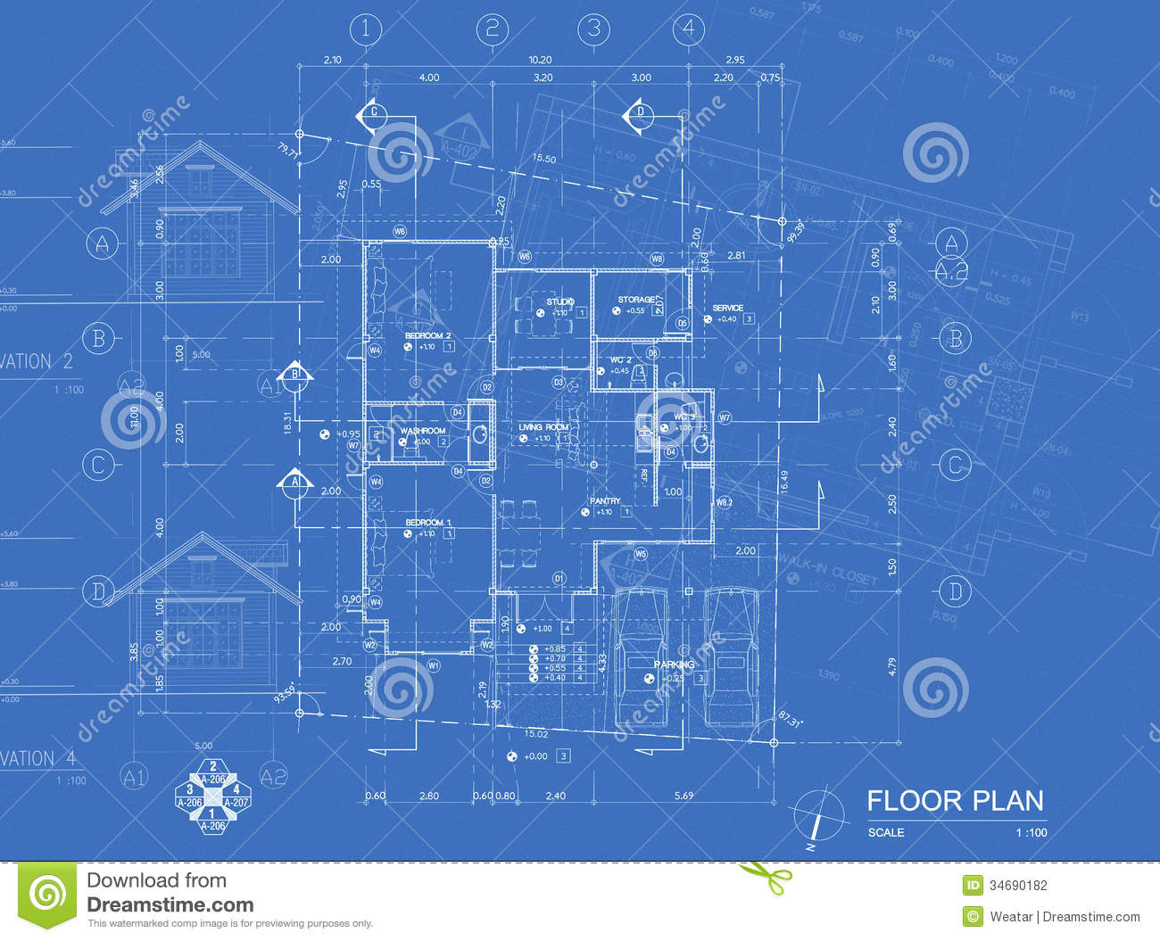 Blueprint Overlay Stock Photography Image 34690182
