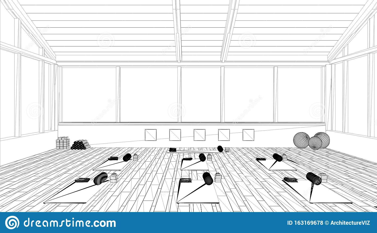 Blueprint Project Draft Empty Yoga Studio Interior Design Architecture Minimal Open Space Spatial Organization With Mats And Stock Illustration Illustration Of Inspiration Unfinished 163169678