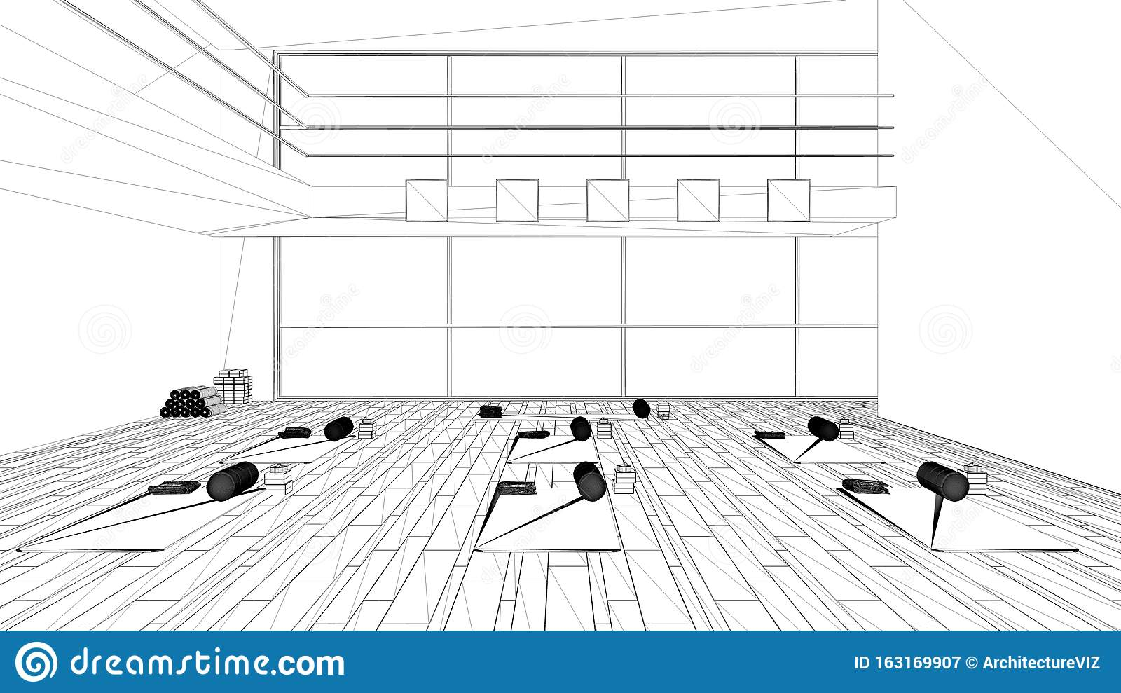 Blueprint Project Draft Empty Yoga Studio Interior Design Architecture Minimal Open Space Spatial Organization With Mats And Stock Illustration Illustration Of Construction Idea 163169907