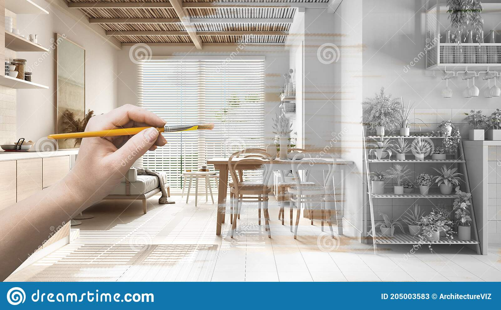 Blueprint Project Draft Sketch Of Cosy Wooden Living Room Hand Painting Interior Details Design Concept Idea Sustainable Stock Illustration Illustration Of Home Draft 205003583