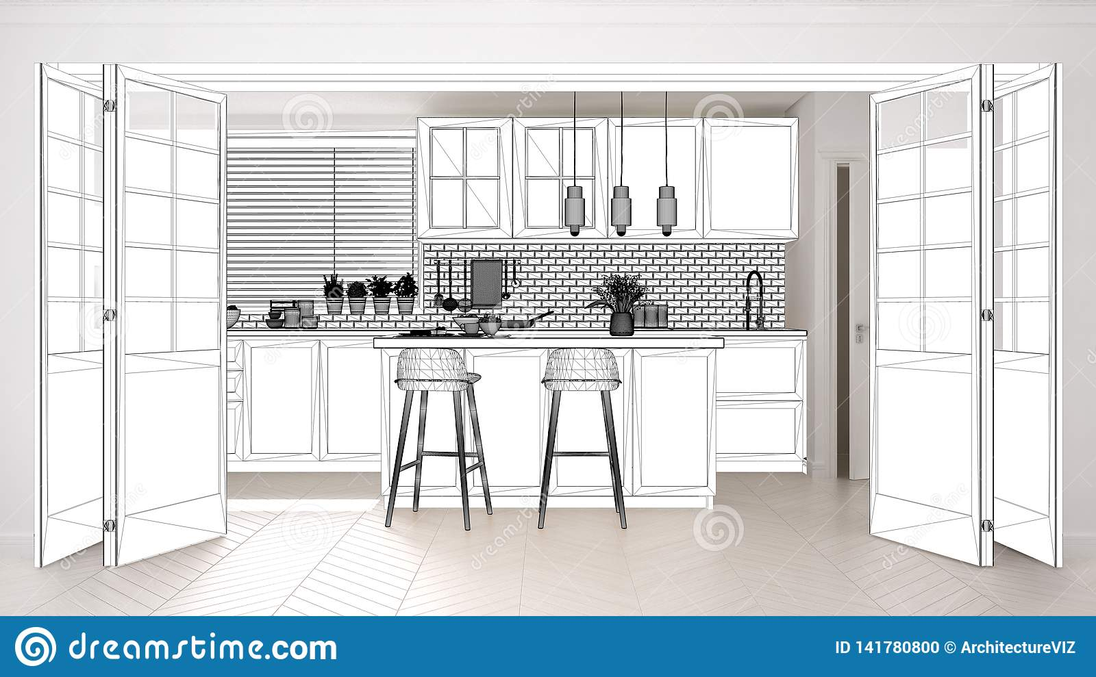 Blueprint Project Draft, Sketch Of Scandinavian Kitchen With ...