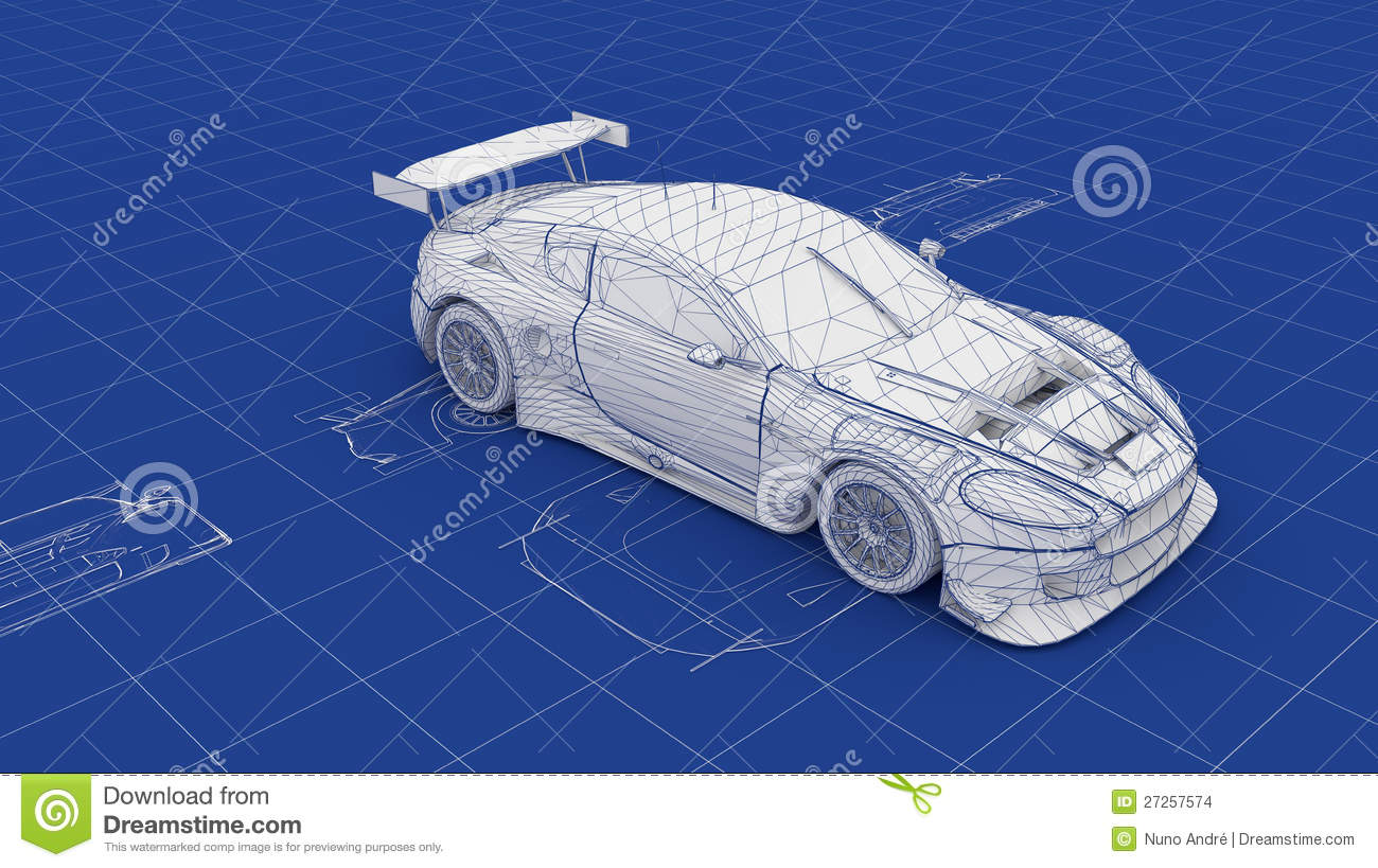 Blueprint Race Car stock illustration. Illustration of mechanic ...
