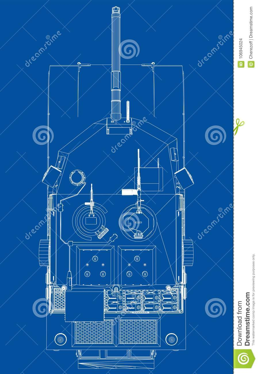 Blueprint Of Realistic Tank Stock Vector Illustration Of Cannon