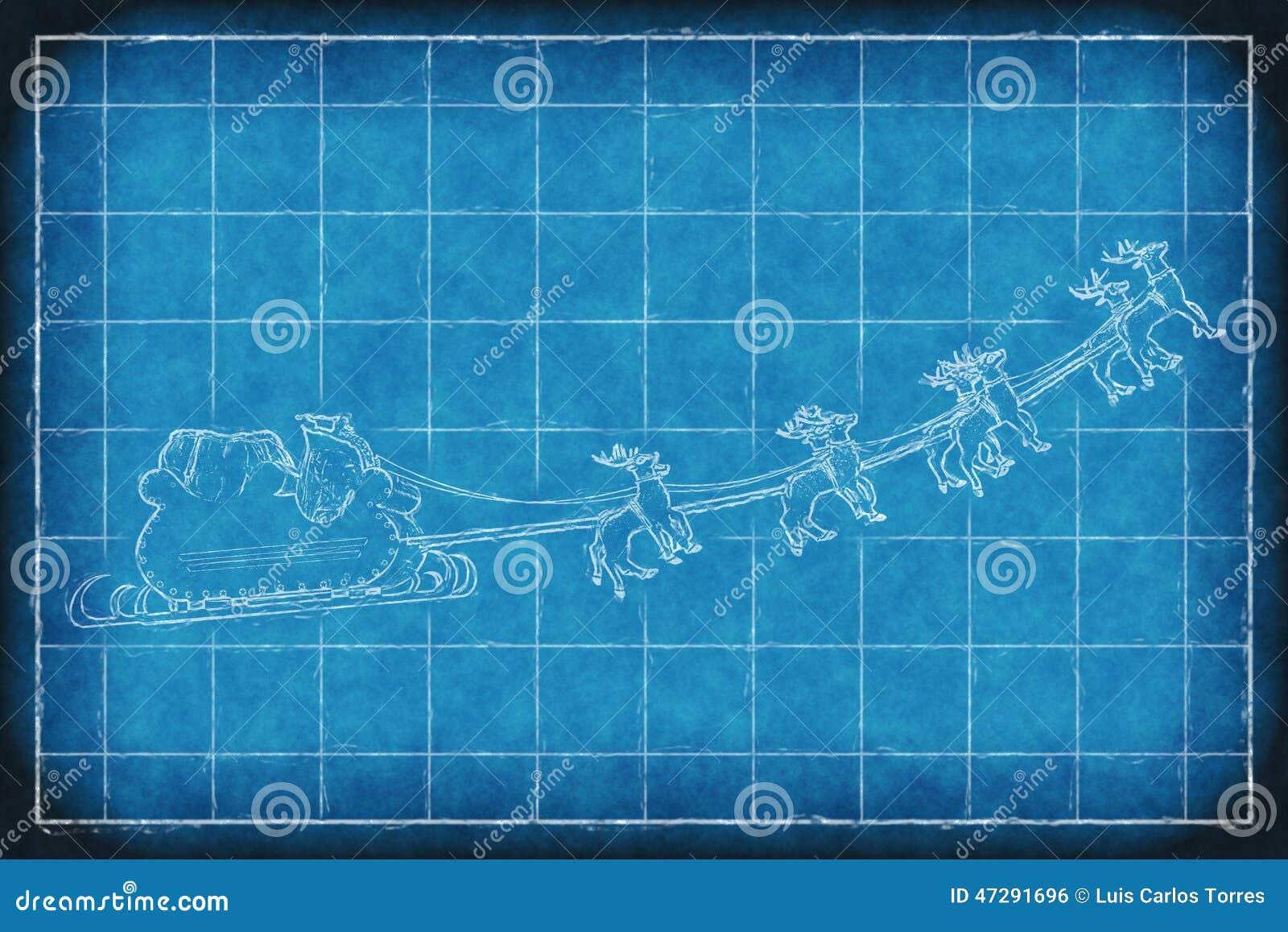Blueprint Santa Claus Sleight Stock Photo
