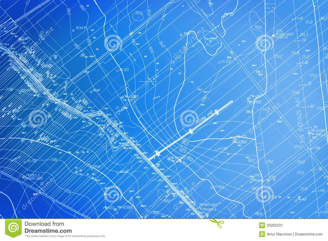 Blueprint Site Plan Stock Image Image 33265231