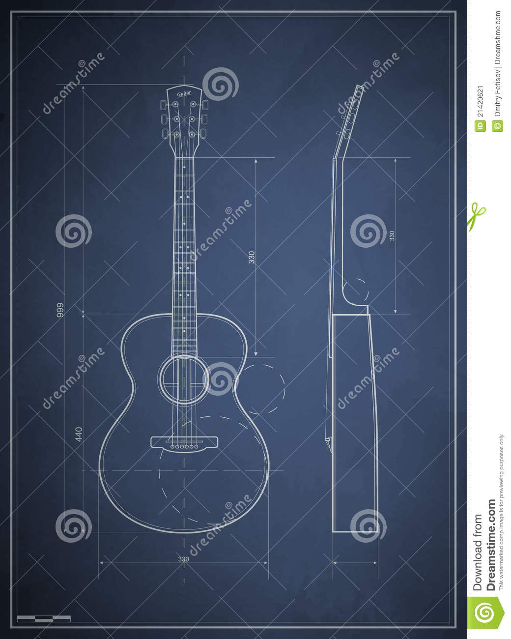 Blueprints For A Modern Four Bedroom Home: Blueprint Six-acoustic Guitar Stock Vector