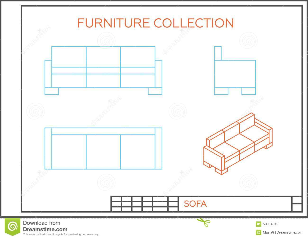 couch drawing side view. royalty-free illustration couch drawing side view