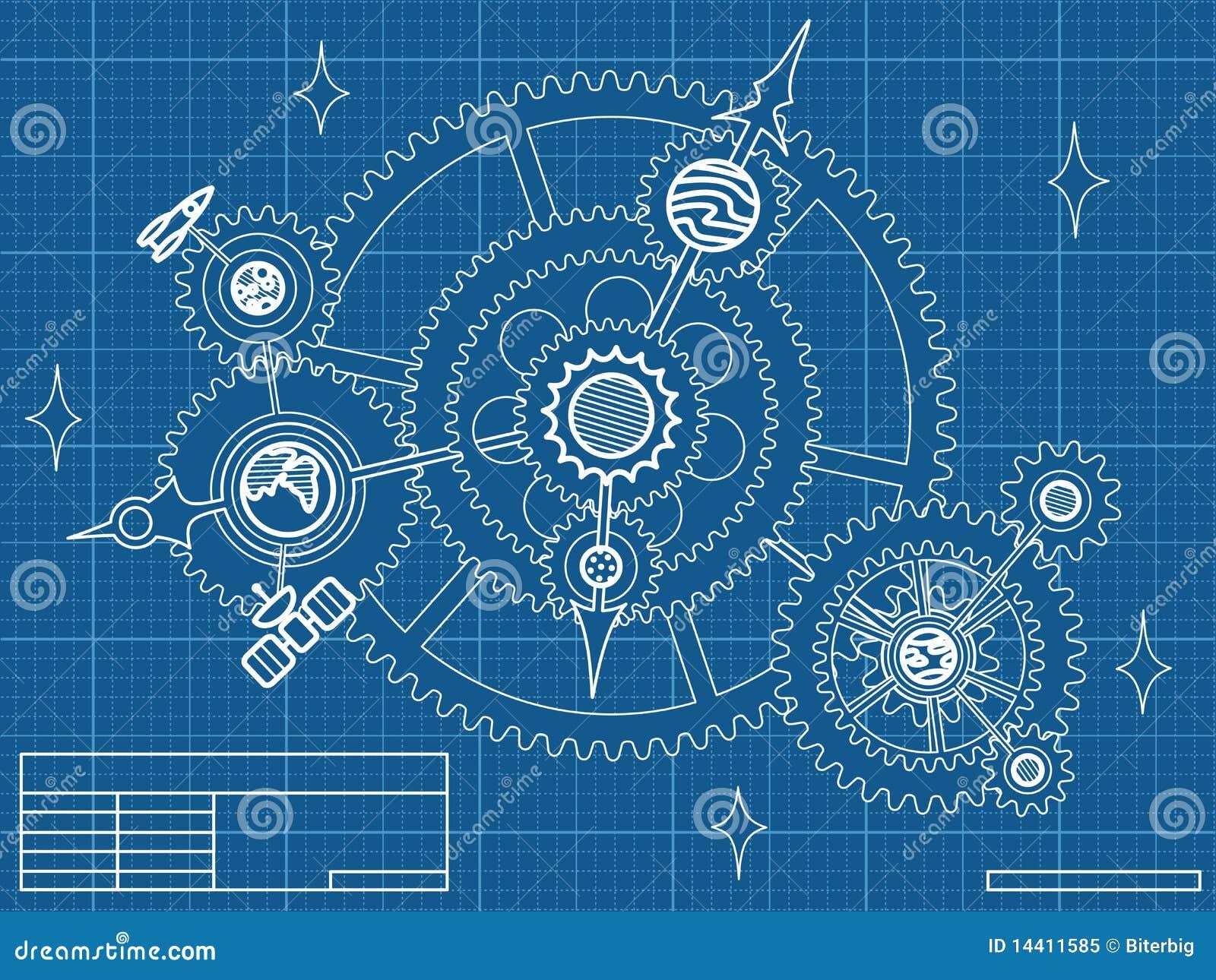 Draw House Blueprints Blueprint Of Space Mechanic Stock Vector Illustration Of
