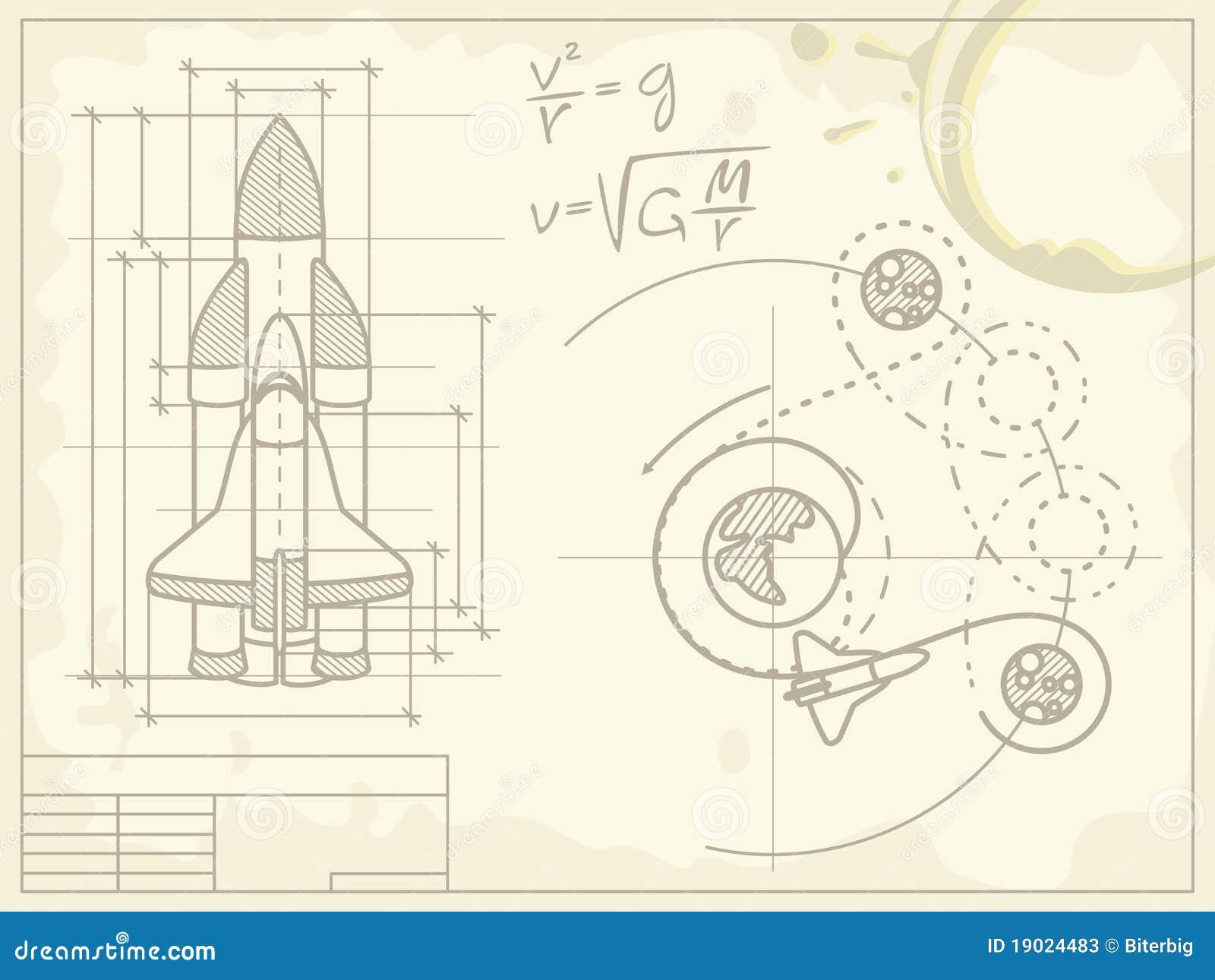 Blueprint of the spaceship and its flight path stock vector download blueprint of the spaceship and its flight path stock vector illustration of grunge malvernweather Choice Image