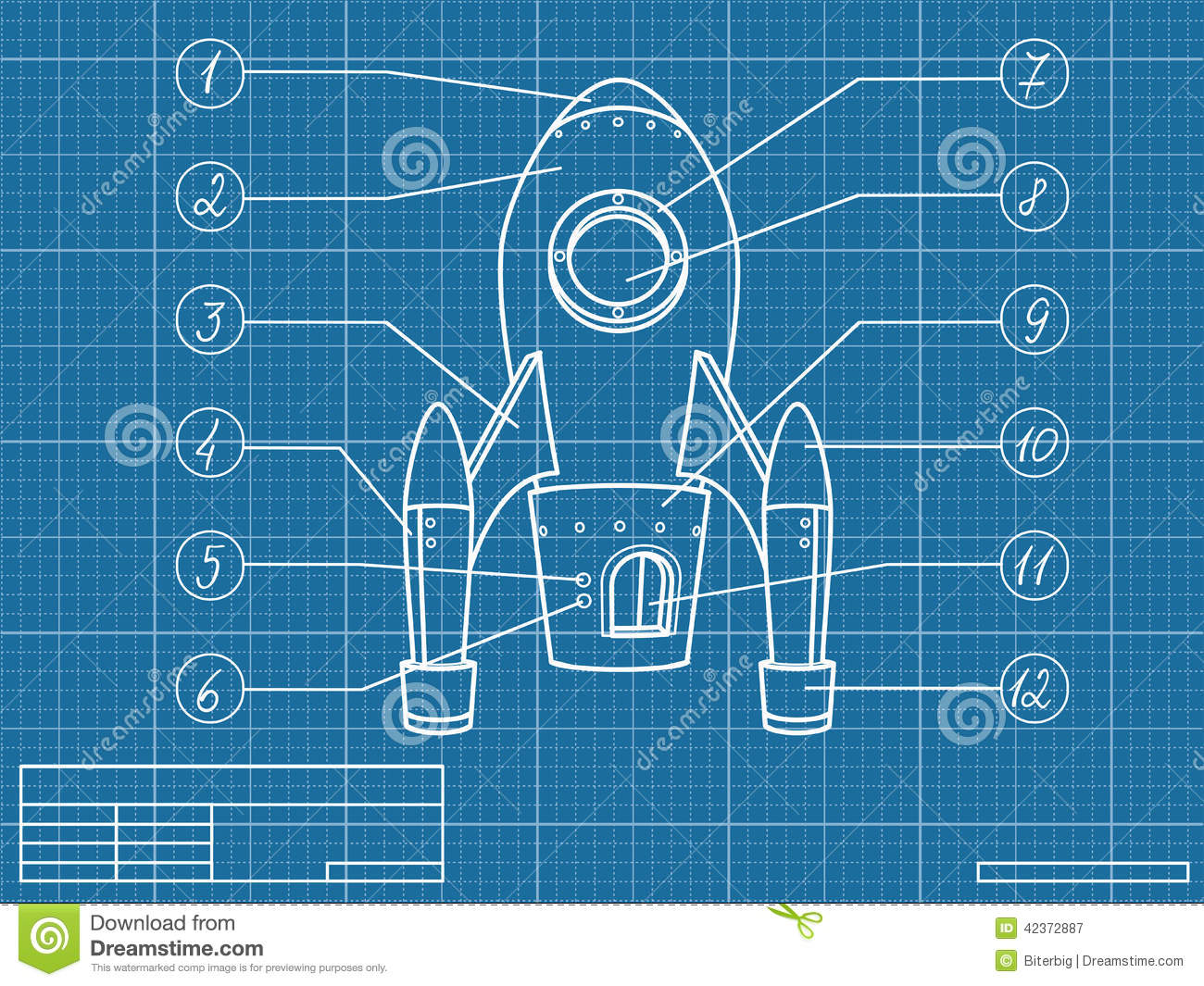Blueprint with spaceship stock vector image 42372887 for Web design blueprints