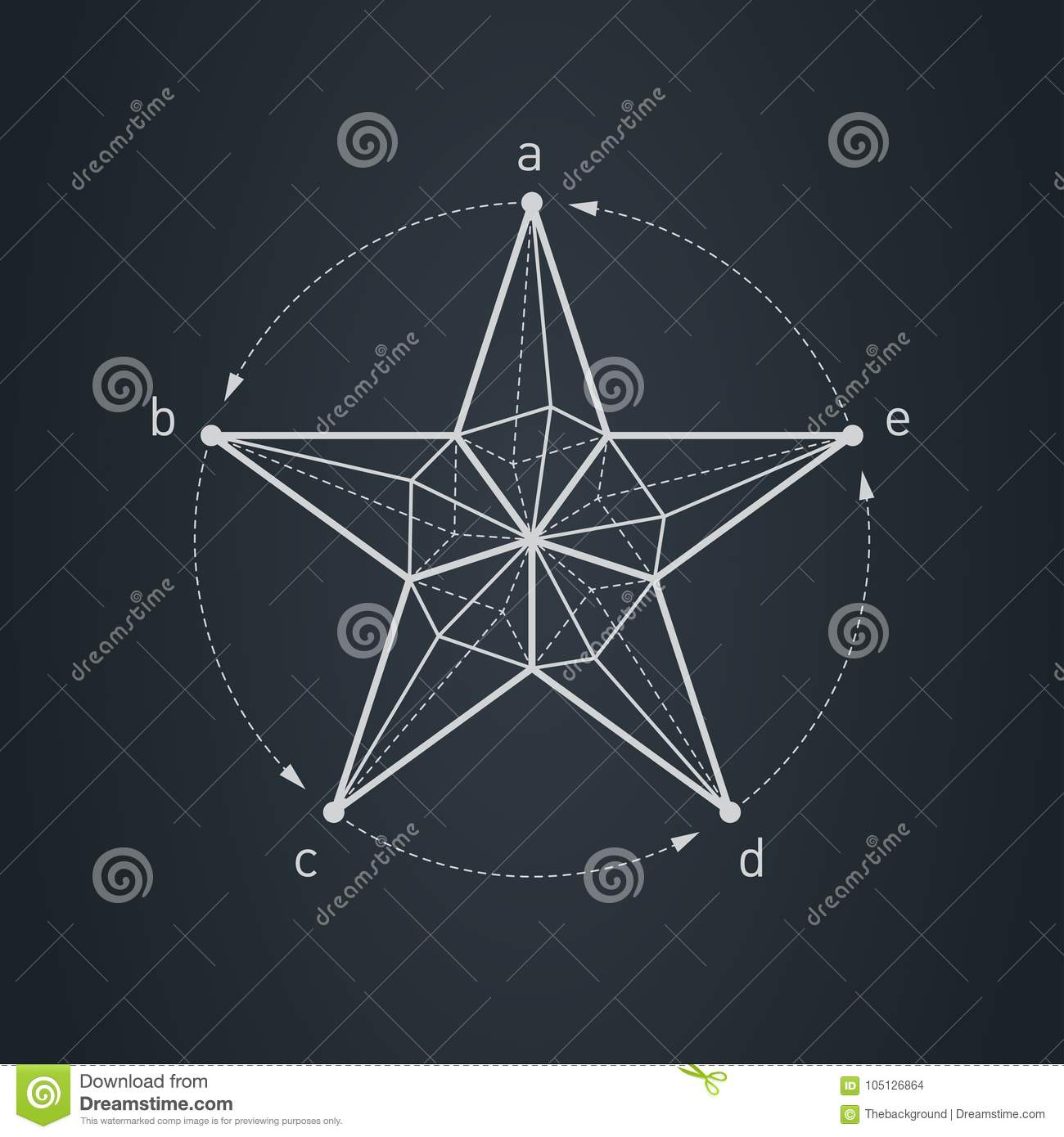 Blueprint Of Star  Design Element With Triangles And Rhombus