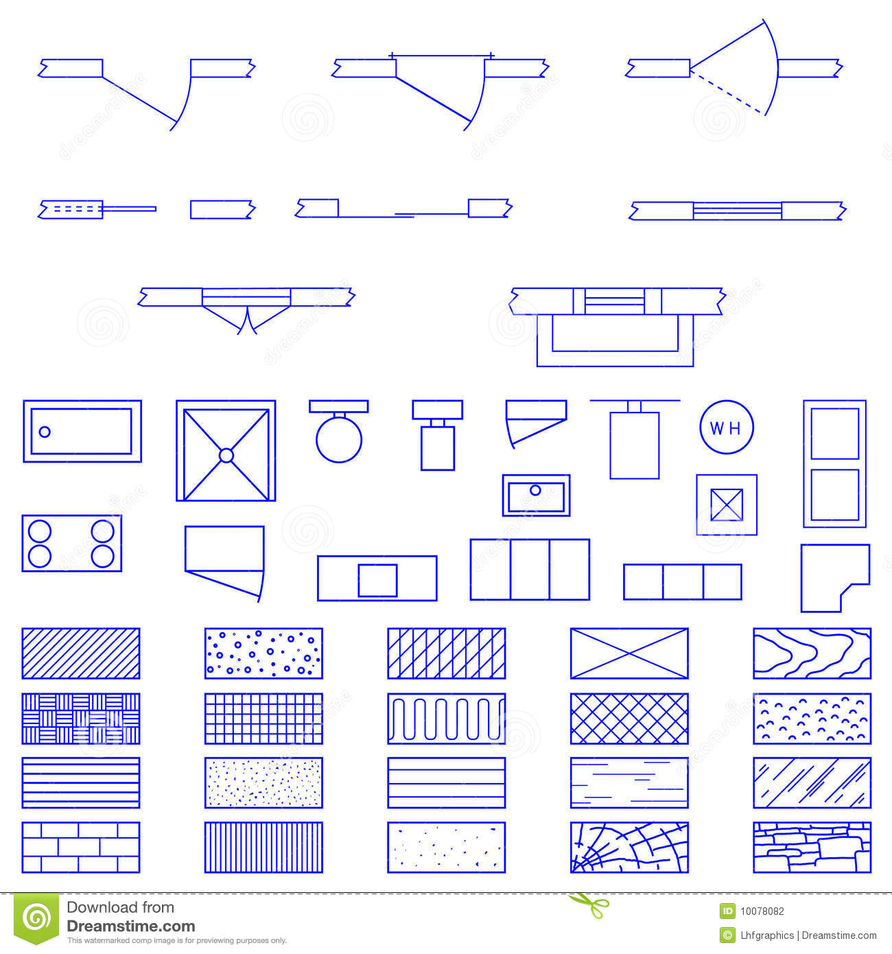 Living room objects furniture and equipment vector illustration - Blueprint Symbols Used By Architects Stock Photography