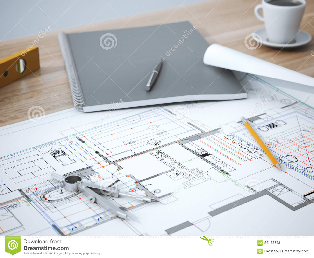 Blueprint on table stock image image of design object 56422863 blueprint on table malvernweather Gallery