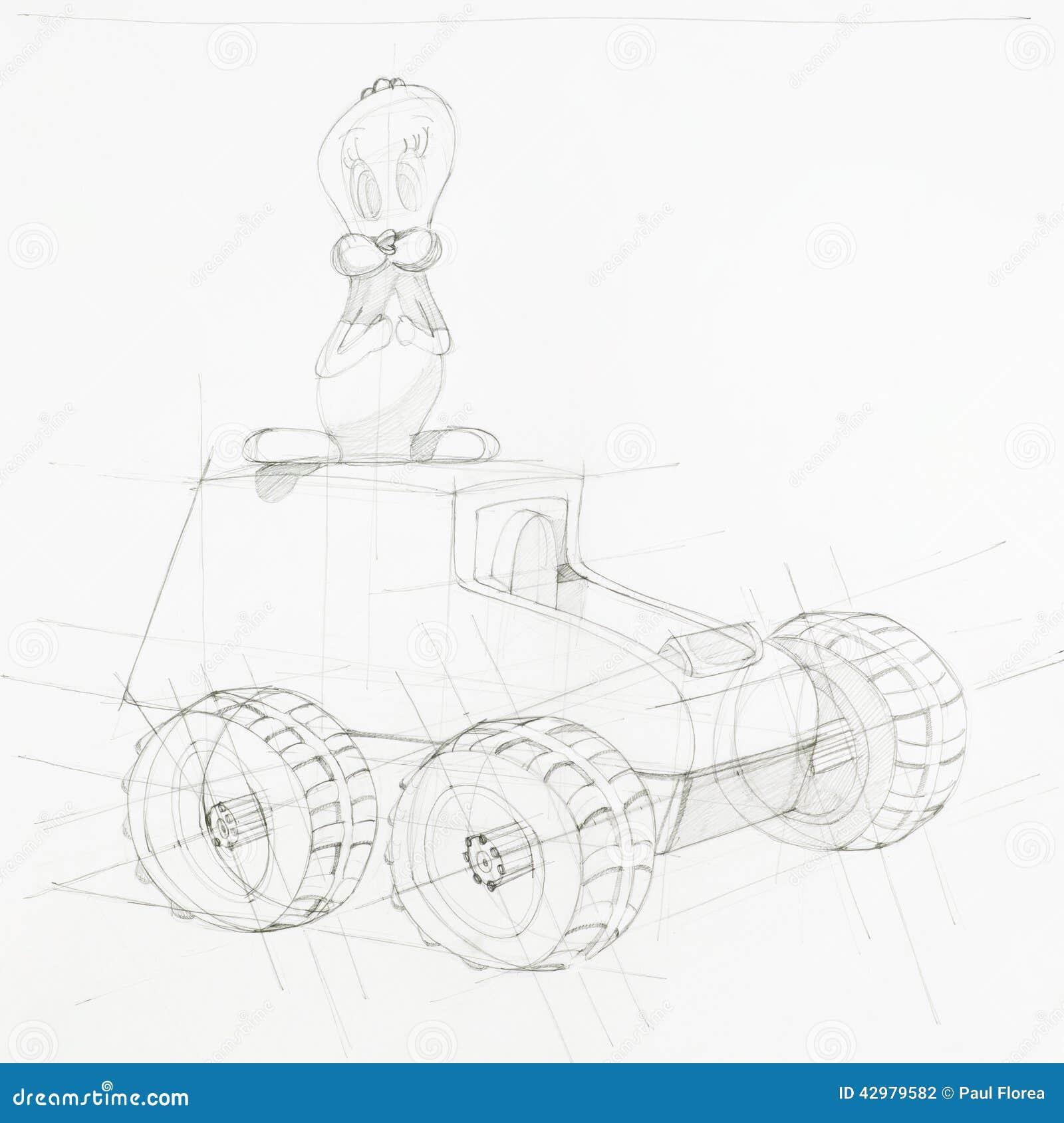 Blueprint of toy car stock illustration. Illustration of forms ...