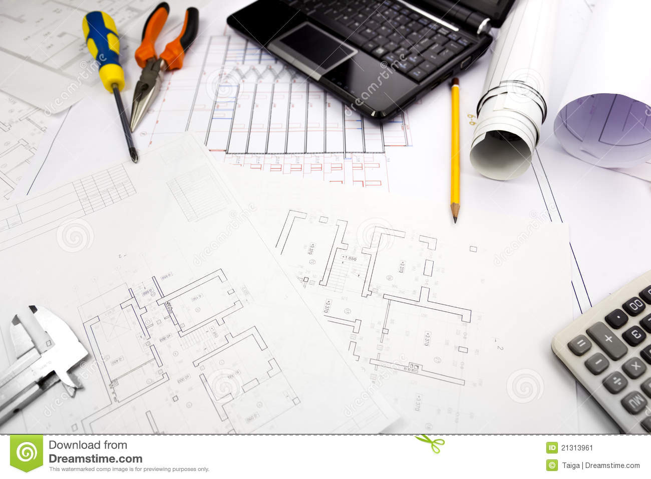 blueprints background with computer and tools stock image image of