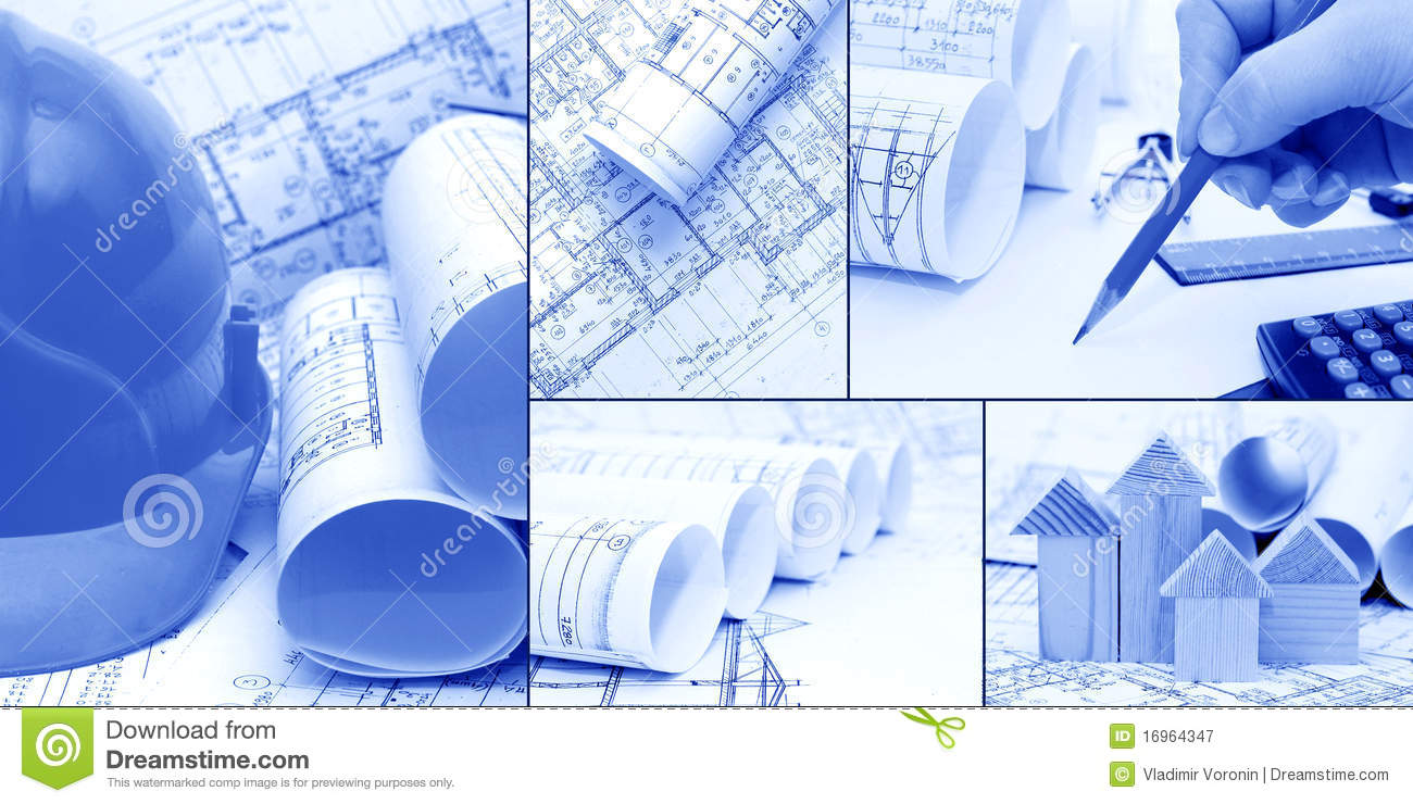 Blueprints, construction - a collage