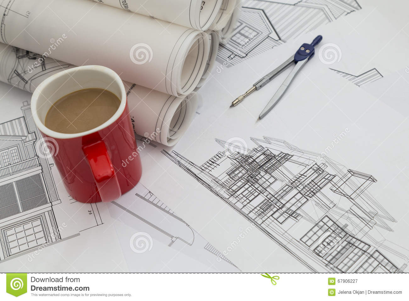 Blueprints with cup of coffee stock image image of interior close royalty free stock photo malvernweather Images