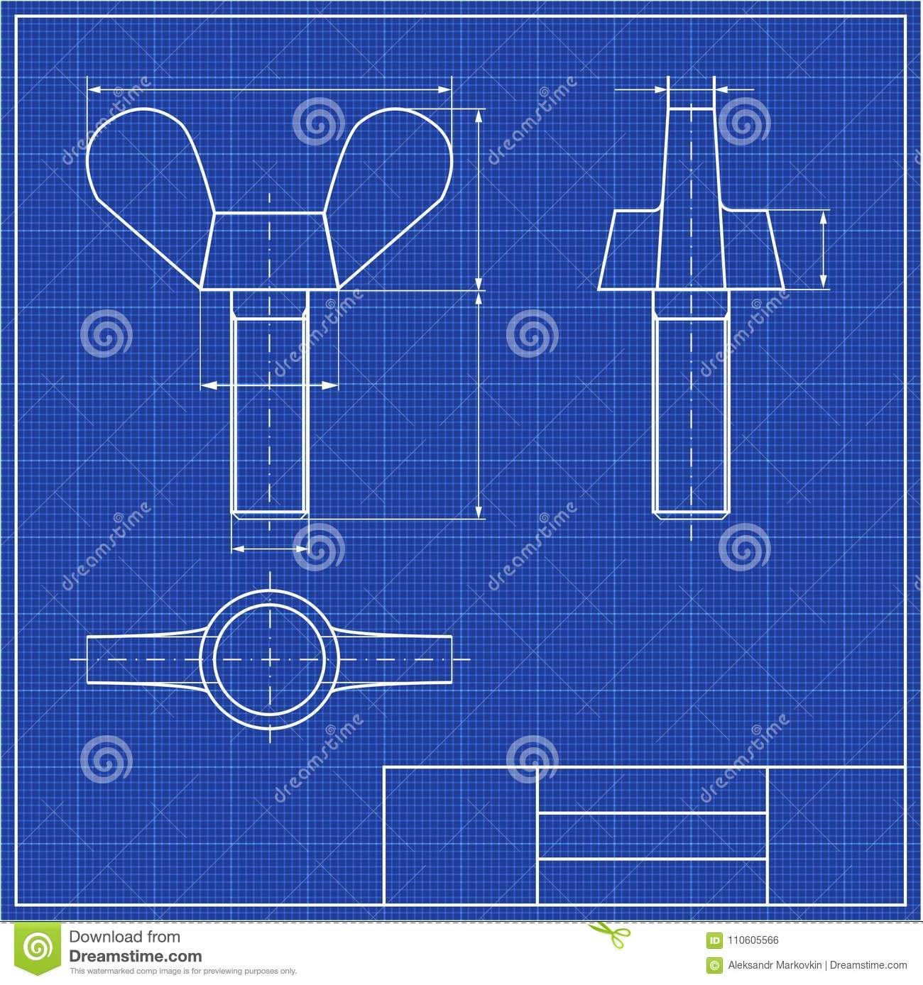 Blueprints Mechanical Engineering Drawings Of Stock Vector