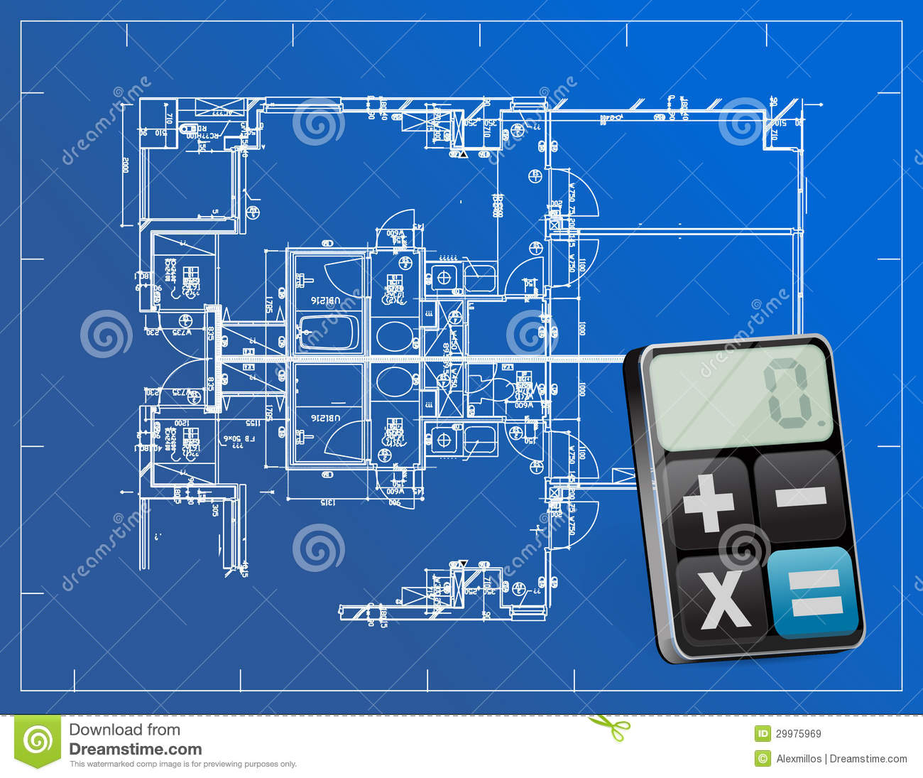 Blueprints and modern calculator royalty free stock images for Blueprint estimator