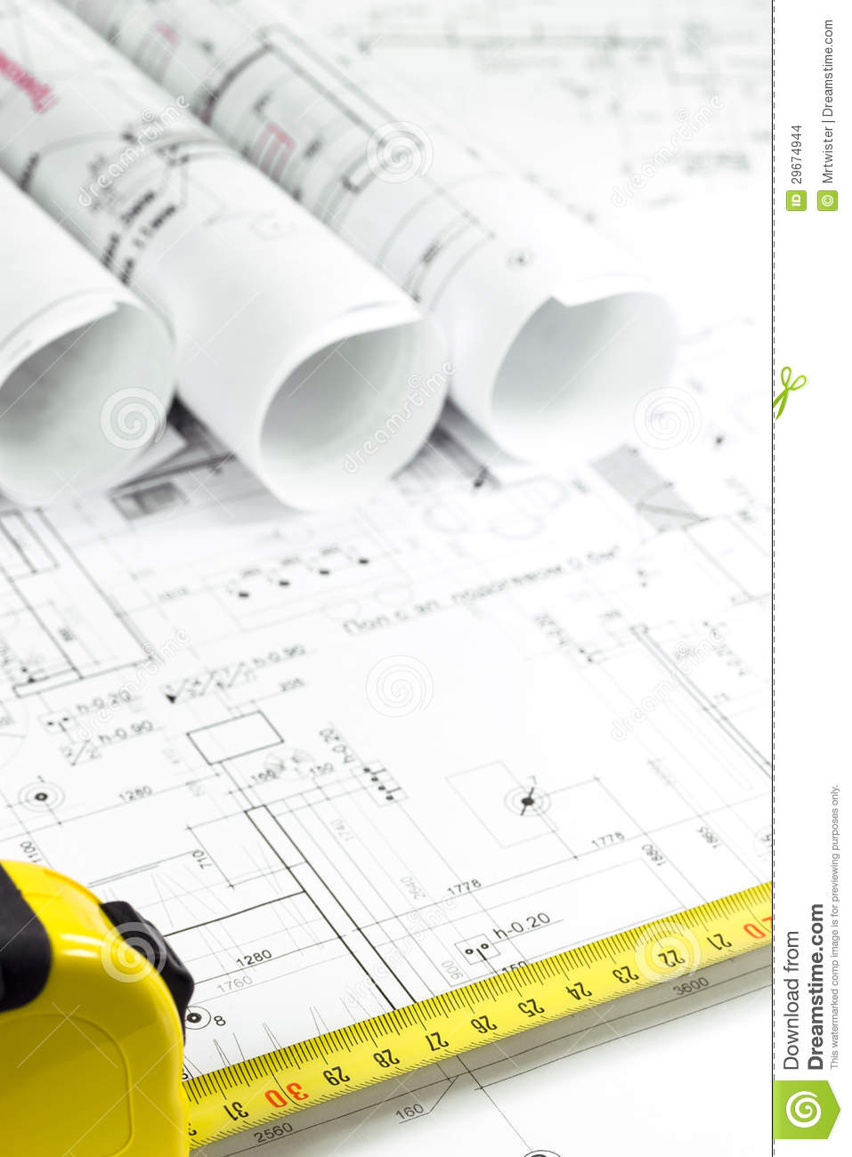Blueprints And Tape Measure Stock Photo Image Of Dimensions Paper Measuring Diagram