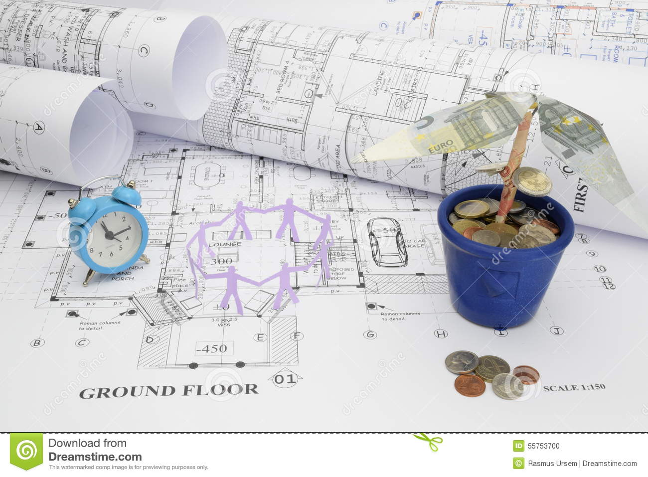 Blueprints time manpower and money tree in construction for Where to save money when building a house