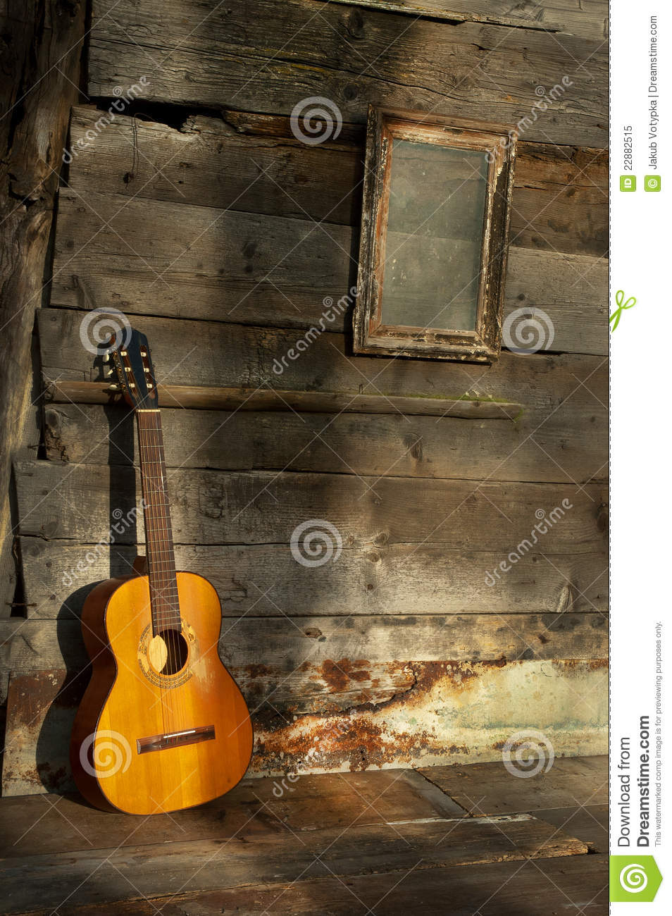 Blues Guitar The Old Wooden Wall As Background Royalty