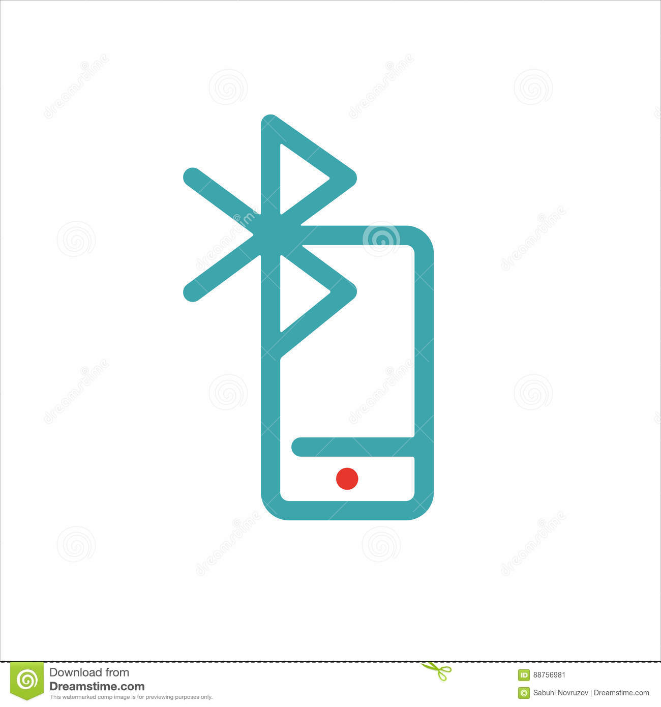 Bluetooth Icon On Smartphone Touchscreen Vector Ilustration Stock