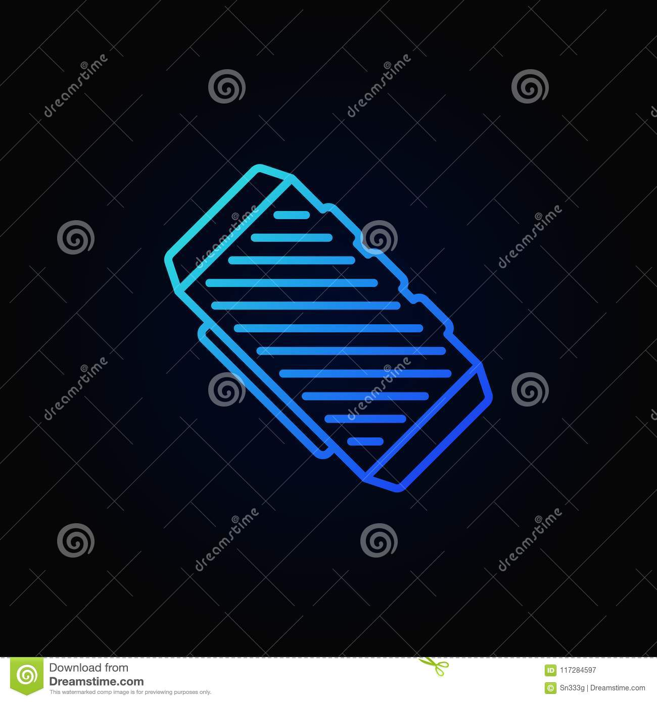Bluetooth Speaker Blue Outline Concept Vector Icon Stock Vector
