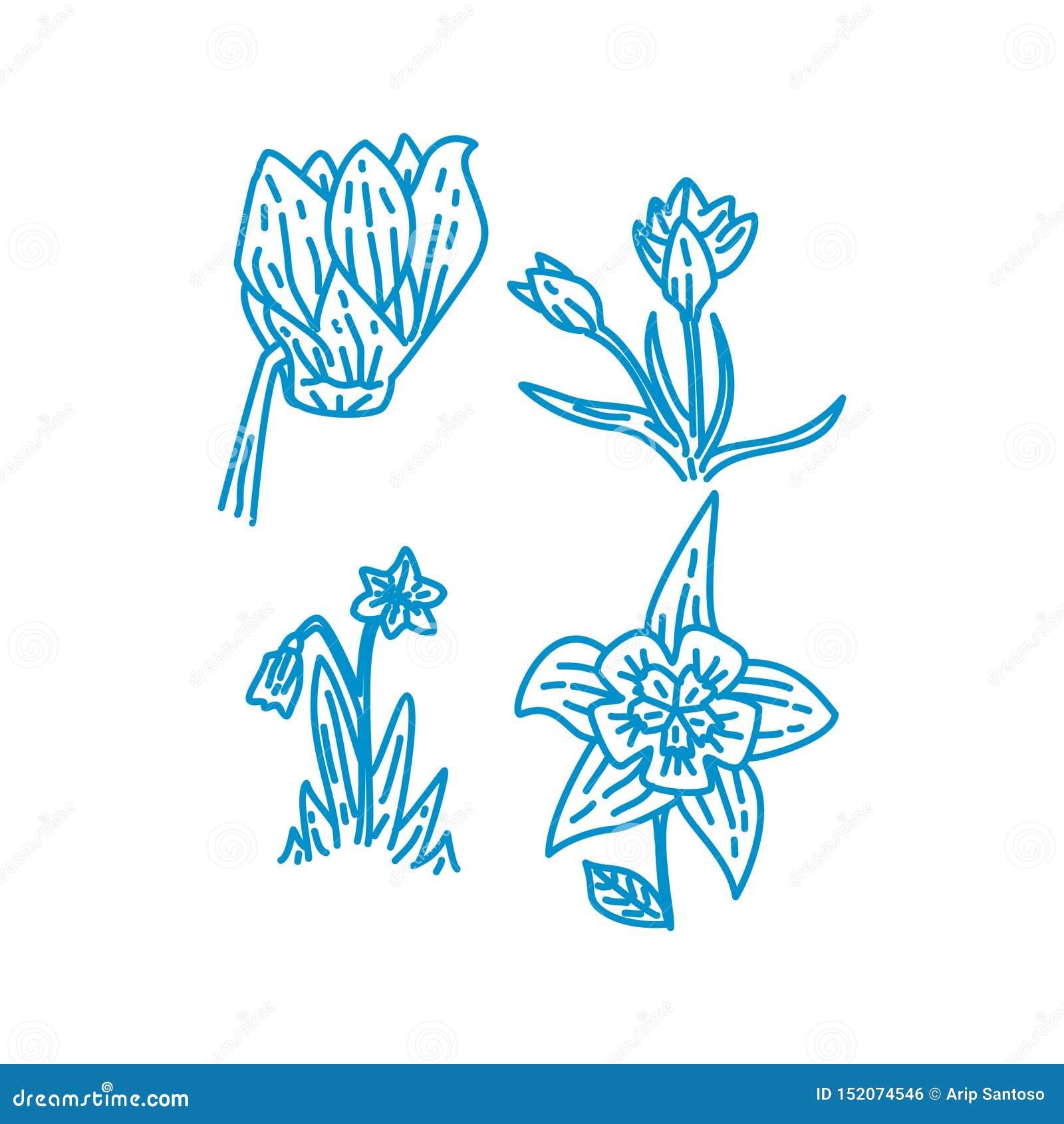 Blumen-Blatt-Illustrations-Entwurfs-Schablonen-Vektor linear
