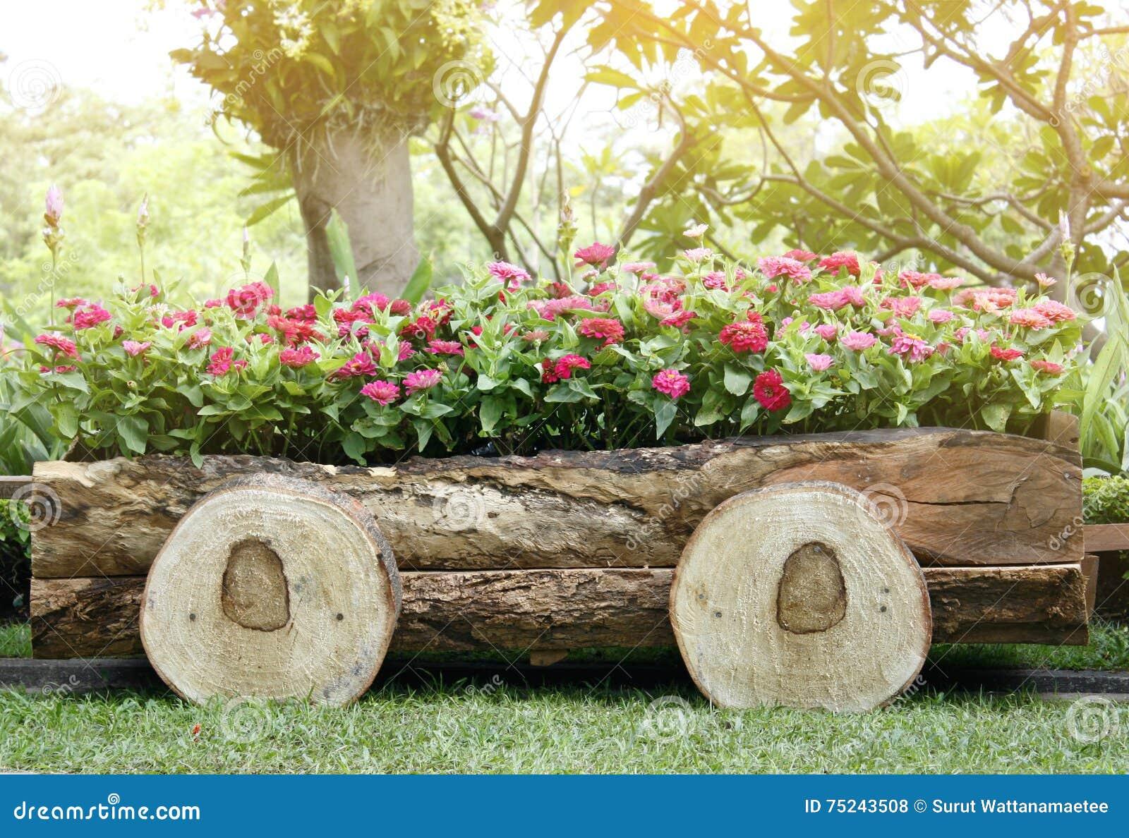Blumen In Den Töpfen In Der Holzkiste Auf Garten Stockfoto Bild